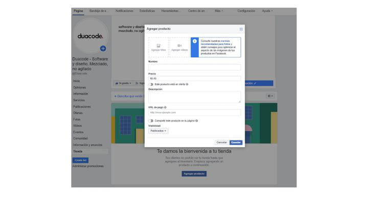 Subir productos a Facebook Store
