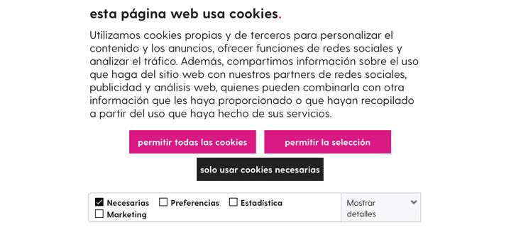 ventana emergente de cookies web duacode