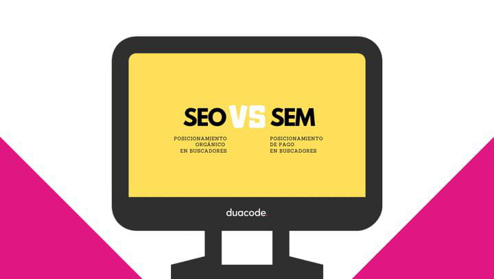 SEO y SEM como estrategias de posicionamiento. Icono PC designed by Freepik from www.flaticon.com